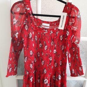 NWT Urban Outfitters Red Prairie Maxi Dress